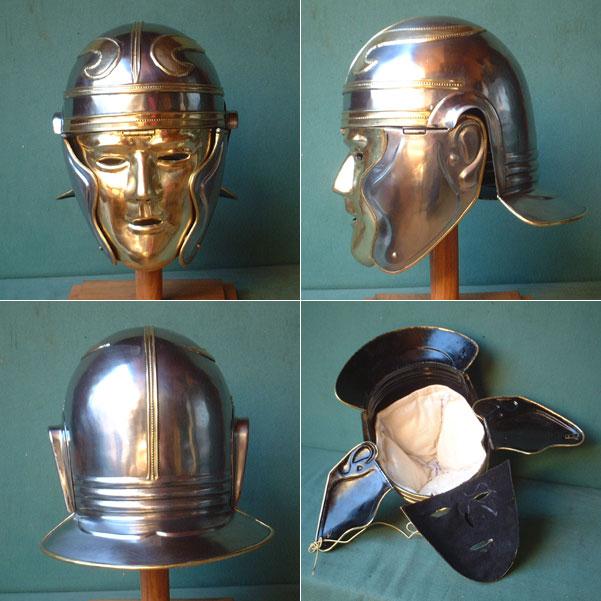 Roman cavalry face helmet from 100 A.D. for reenactors