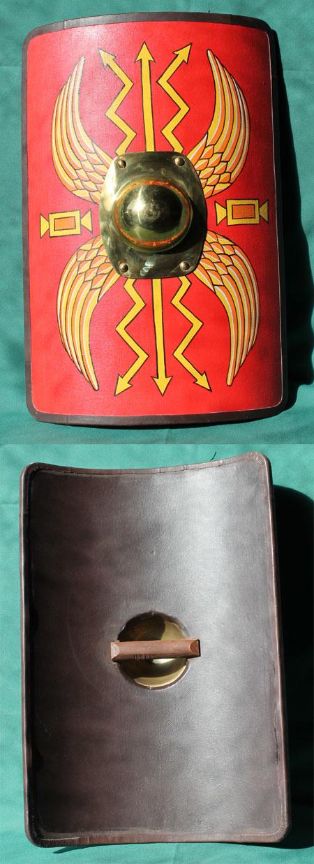 Roman scutum shield, children size leather-rim