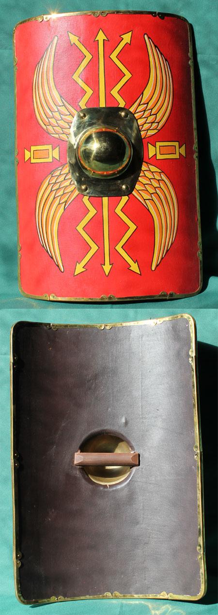 Roman scutum shield, children size - brass rim
