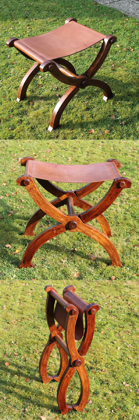 Scissors chair / Folding chair - Leather seat