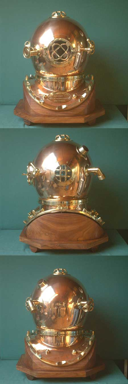 US Navy Diver's Helmet, Mark V diving helmet with wooden stand