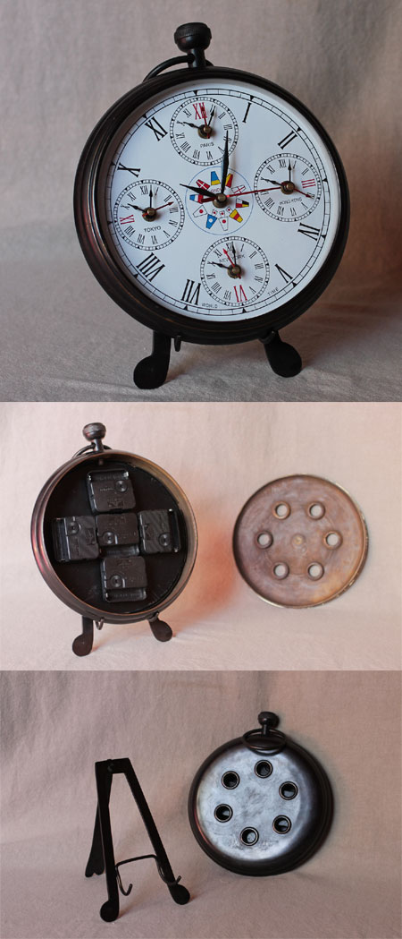 Nautical clock with local times in 5 world cities