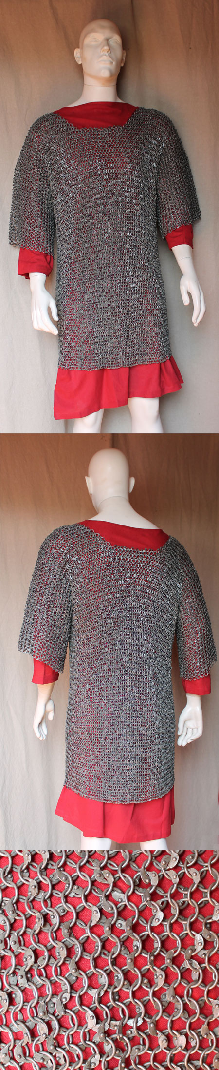 Medieval riveted Chain Mail Shirt 1/2 sleeves
