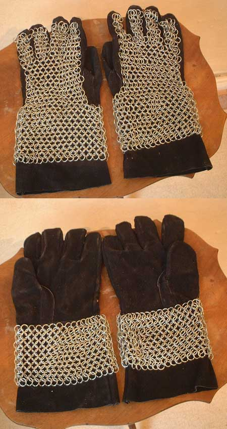 Medieval gloves w. Chain Mail cover for LARP (chainmail)