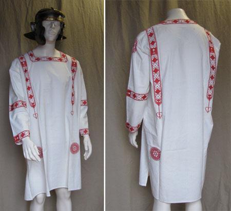 Römische Tunika - Baumwolle Rot mit Stickerei - Gr. XL