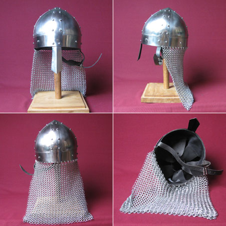 Spangen-Helm mit Kettenschutz, Wikinger