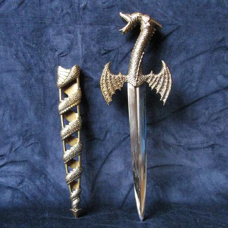 Fantasy dragon dagger with sheath