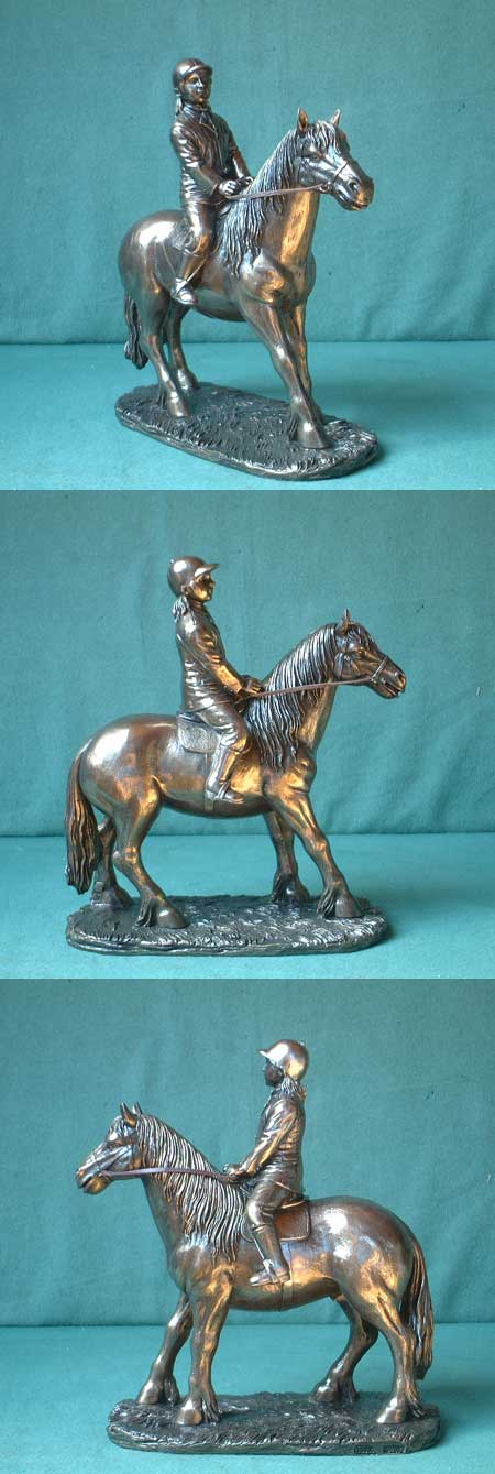 Little girl with pony, Bronze Imitation