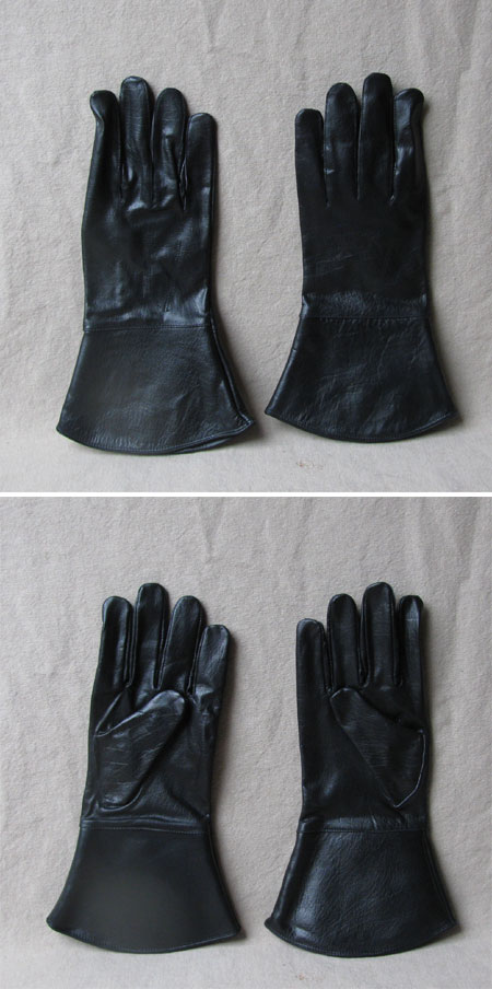 Leather gloves, black, size M