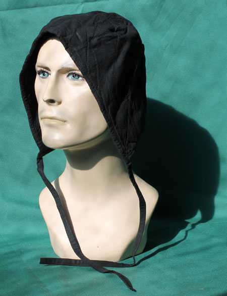 Cotton cap for chainmail coif / helmet, black