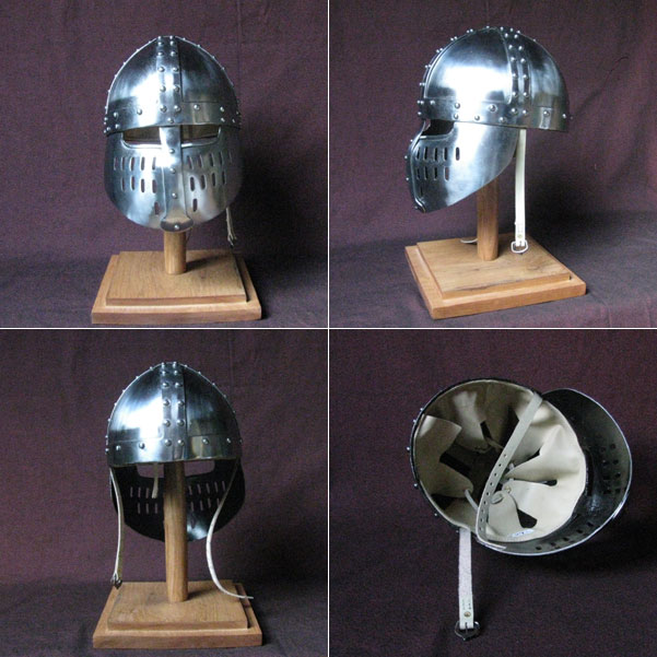 Strong Viking helmet, Spangenhelm with face protection, reenactment