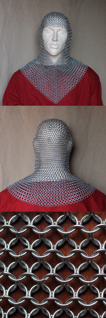 Chainmail coif, zincplated, butted steel links