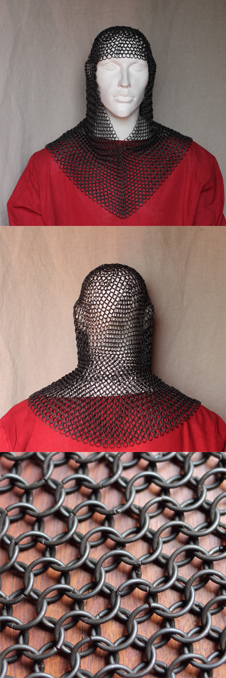 Chainmail coif, blackened, butted steel links