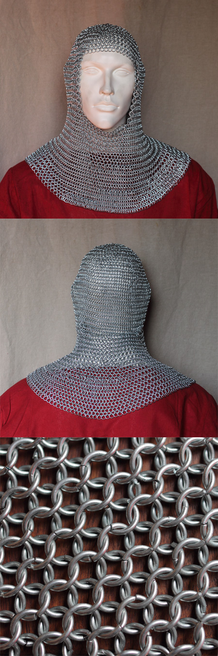 Chainmail coif, zincplated, butted steel links, 8 mm