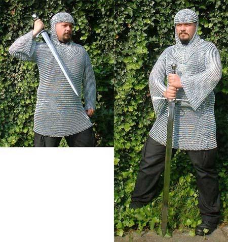 Kettenhemd  M verzinkt, lang, 12,5 x 1,5 mm Ringe