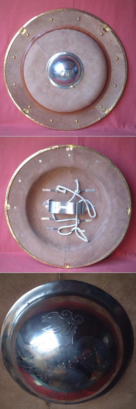 Griechen-Schild, rund, Stahl lederbezogen für leichten Schaukampf