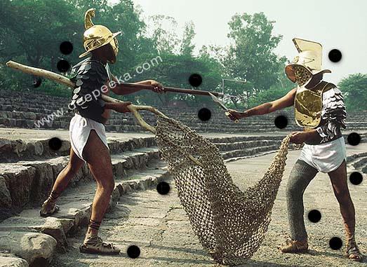 Gladiatoren, Retiarius-Netz aus Jute