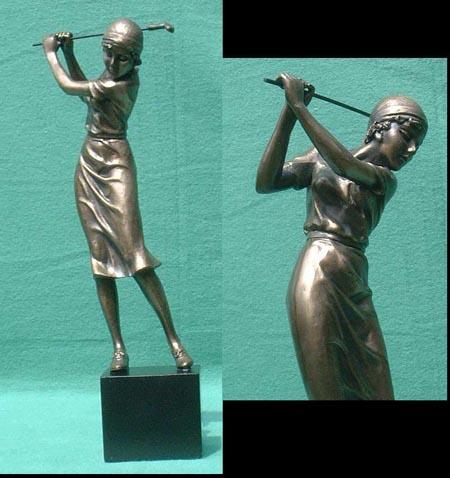 Eine Golfspielerin  Bronze Imitat Steinguss Golf