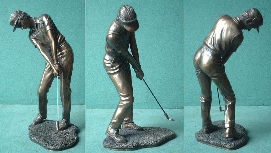 Golfspieler Bronze Imitat Steinguss Golf