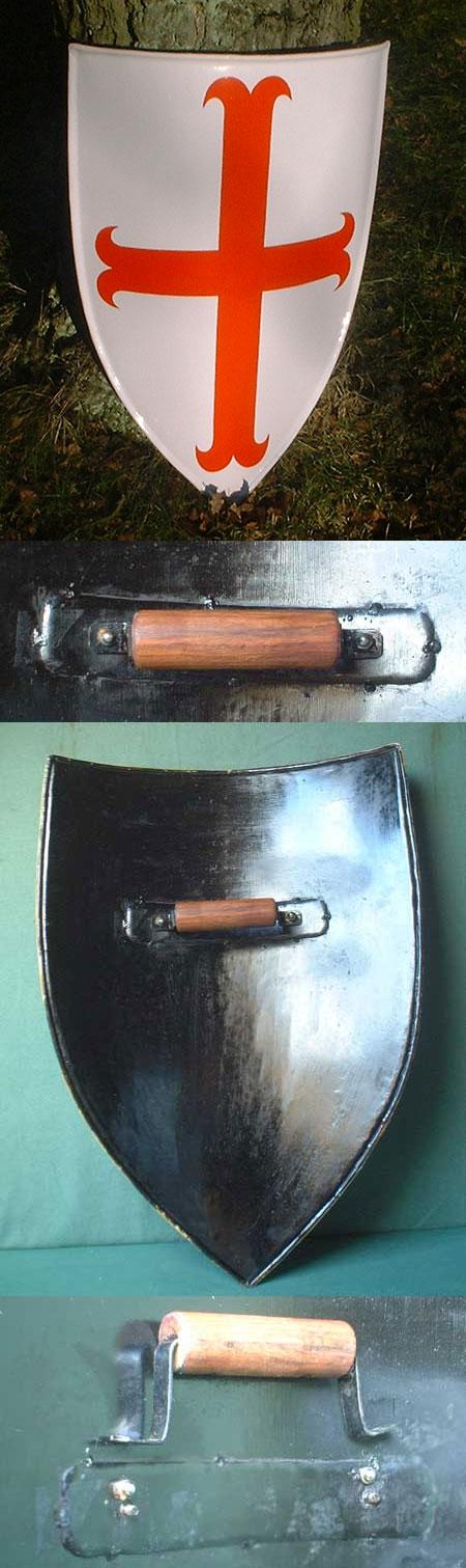 Mittelalter - Eisen - Kreuzritter-Schild, für leichten Schaukampf