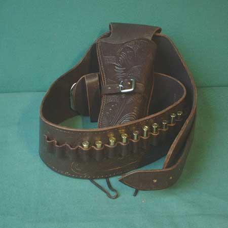 Western Colt Buscadero Holster + Gürtel (Braun) - Gr. S