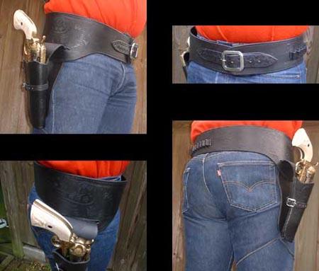 Western Colt Buscadero Holster + Gürtel (Schwarz) - Gr. M/L
