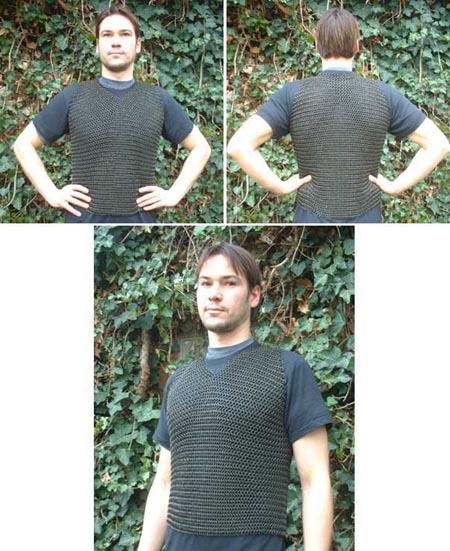 Kettenhemd verzinkt, ohne Ärmel, brüniert - lang