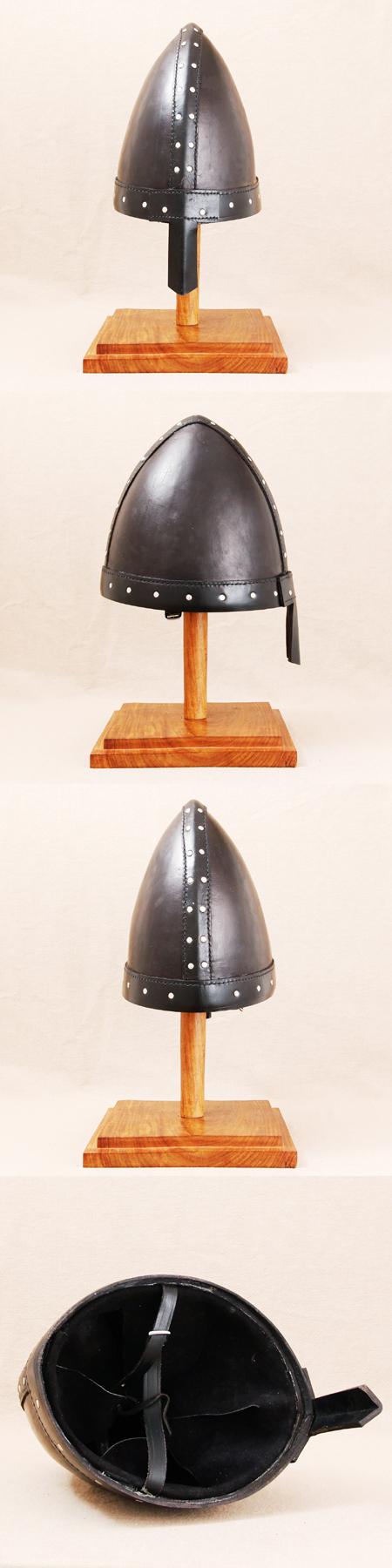 Helm der Wikinger, Normannen, aus Rindsleder