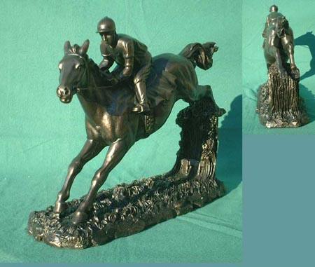 Springreiter Skulptur, Bronze Imitat Figur