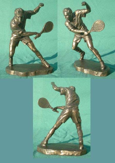 Tennis - Spieler Bronze Imitat Steinguss