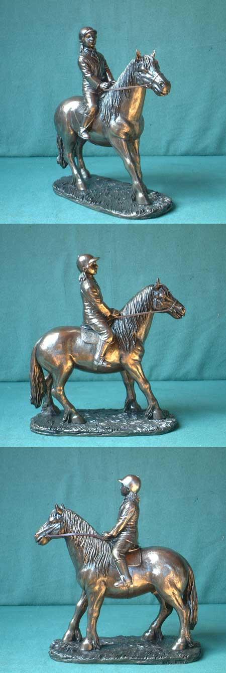 Mädchen mit Pony, Bronze-Imitation, Kunstguss, England