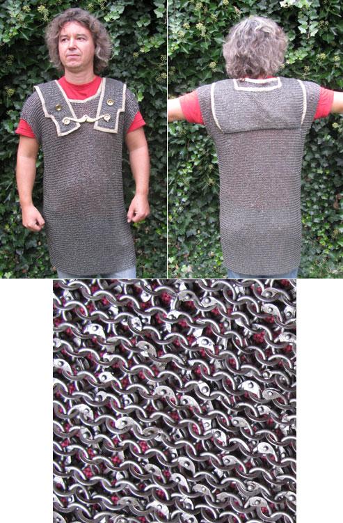 Kettenhemd römische Hamata, vernietet, Ring-Durchmesser 6mm innen, Gr. S