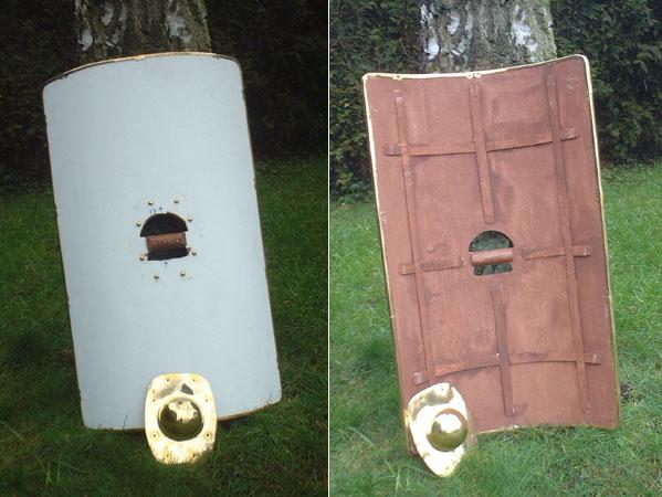 Roman rectangular shield scutum primed and unpainted