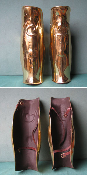 Greek brass greaves,legs+knee caps protected