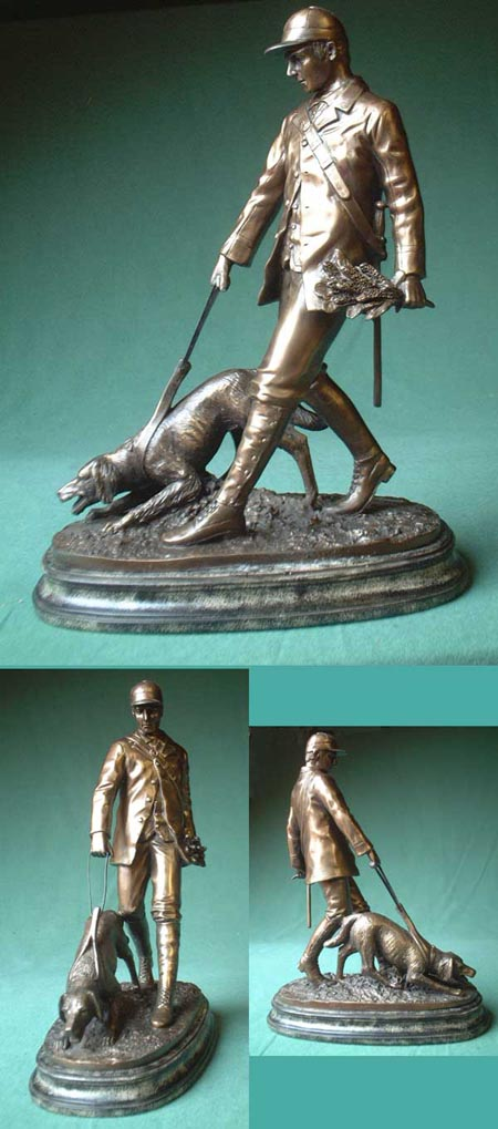 Huntsman with dog, cast bronze imitation