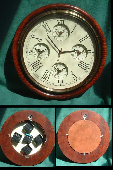 Large nautical Captain's clock with local times in five cities