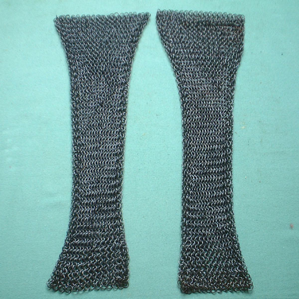 Medieval chain mail sleeves for shirt, blackened