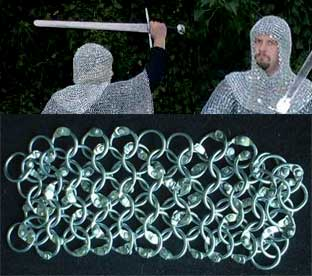Medieval chainmail coif, zincplated, riveted