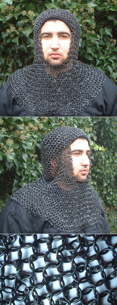 Medieval riveted Chain Mail Coif, blackened
