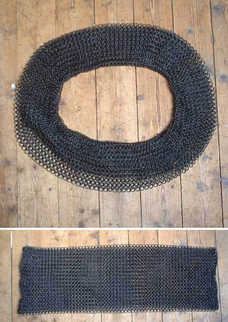Lengthening piece for chainmail shirts, blackened - 20cm / 7.8 inch