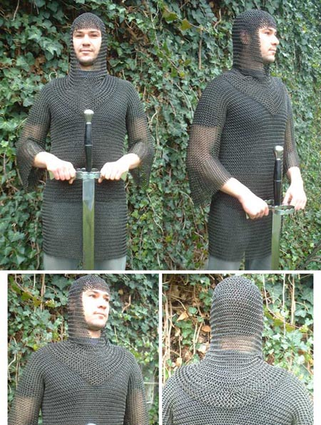 Medieval blackened Chain Mail Shirt long sleeves