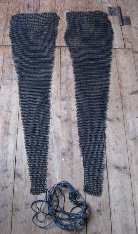 Medieval chainmail legs + feet front covers, blackened