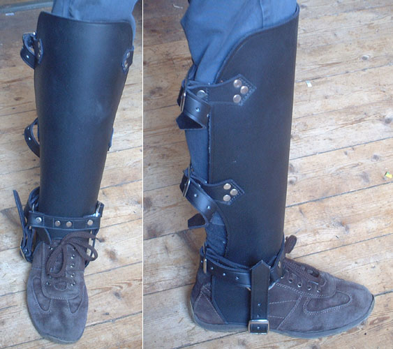 Cowhide leg protection for reenactment