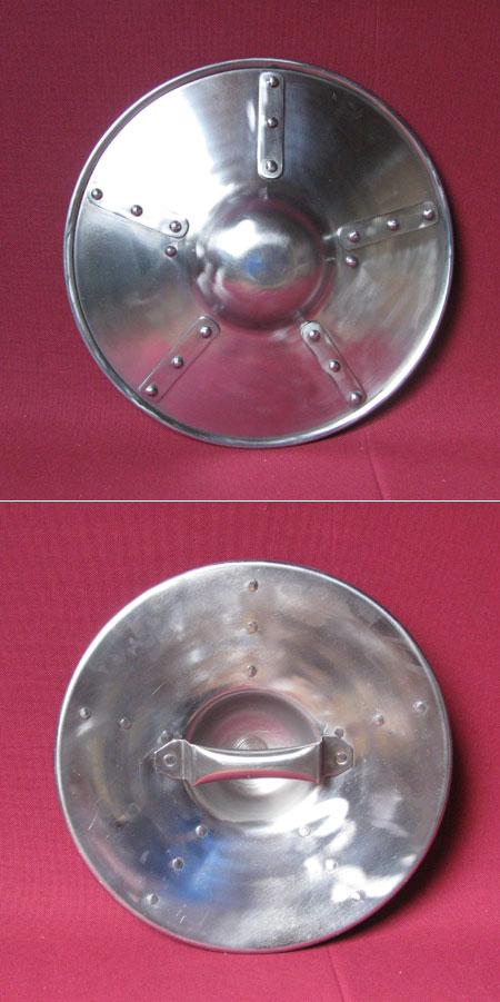 Medieval steel shield, buckler for combat