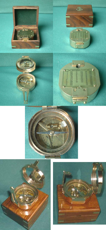 Brunton Compass w. Hardwood Box, Replica