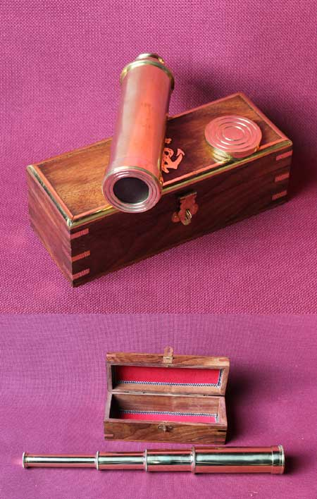 Marine brass telescope in wooden box