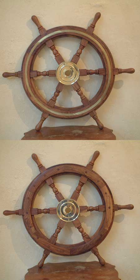Decorative 25 inch antiqued steering wheel