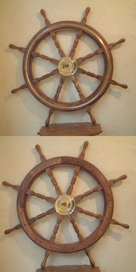 36'' antiqued boat steering wheel (brass and wood)