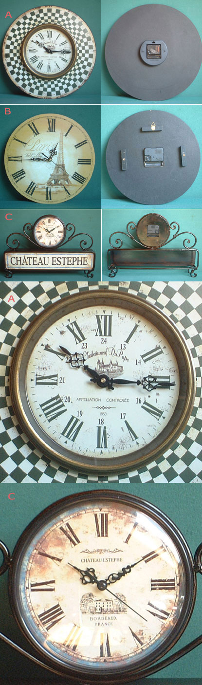 Clocks promoting French Famous Wines + the Eiffel Tower