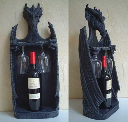 Feng Shui gothic fantasy dragon bottle stand